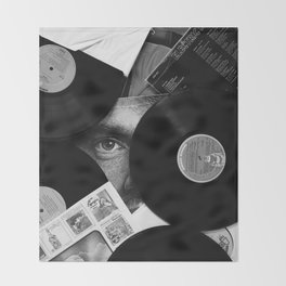 Long-playing Records and Covers in Black and White - Good Memories #decor #society6 #buyart Throw Blanket