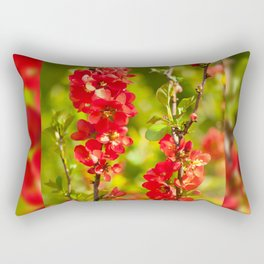 Chaenomeles shrub red flowering Rectangular Pillow