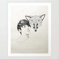 kitsune Art Prints featuring Kitsune by Claire Wee