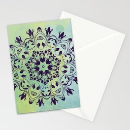 FLOURISH PURPLE AND BLUE WATERCOLOR MANDALA  Stationery Cards