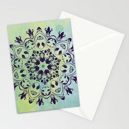 FLOURISH PURPLE AND BLUE WATERCOLOR MANDALA  Stationery Cards
