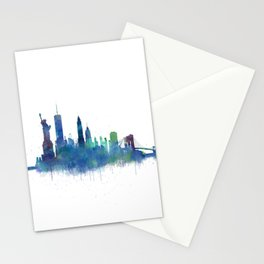 NY New York City Skyline NYC Watercolor art Stationery Cards
