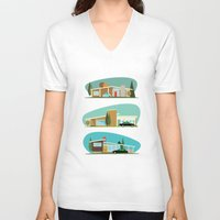 hollywood V-neck T-shirts featuring Hollywood Bungalows by Hand Drawn Creative