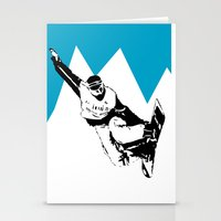 snowboarding Stationery Cards featuring Snowboarding Design by Cwilwol