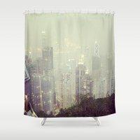 hong kong Shower Curtains featuring Hong Kong Peak by JLee