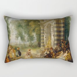 "Antoine Watteau ""The pleasures of the ball (Les Plaisirs du bal)"" Rectangular Pillow"