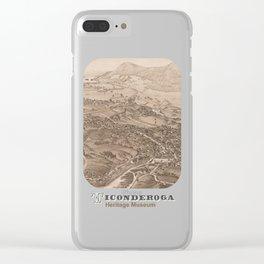 Ticonderoga Map 1884 (Sepia) Clear iPhone Case