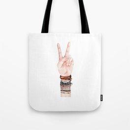 Peace Hand Symbol Tote Bag