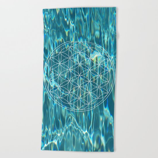 Flower of life in the water Beach Towel