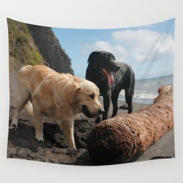 Two dogs playing Wall Tapestry