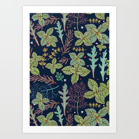 dark herbs pattern Art Print
