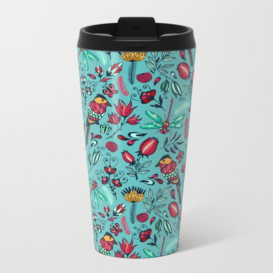 Birds and dragonflies blue pattern Metal Travel Mug