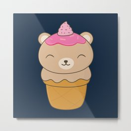 Kawaii Bear Ice Cream Cone Metal Print