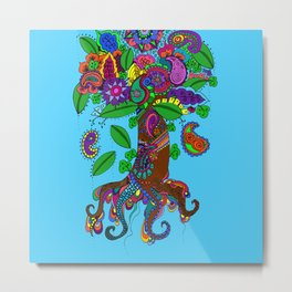 Psychedelic Paisley Tree - on Turquoise Background Metal Print