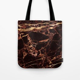 Marble, Masala Red + Faux Gold Veins Tote Bag