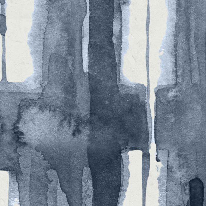 Simply Shibori Lines in Indigo Blue on Lunar Gray Leggings