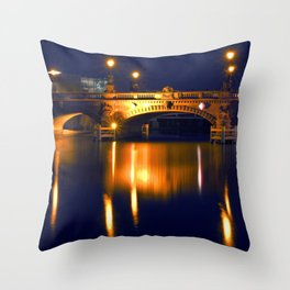 Nocturnal Lights on the river Spree in Berlin Throw Pillow