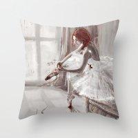 ballerina Throw Pillows featuring Ballerina by Monika Gross
