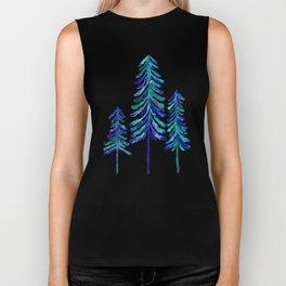 Pine Trees – Navy & Turquoise Palette Biker Tank