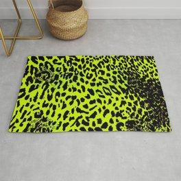Bright Neon Yellow Leopard Animal Pattern Design Rug