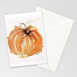 Abstract Watercolor Pumpkin Stationery Cards