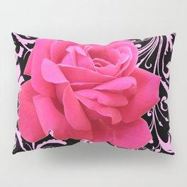 ORNATE  BLACK & PINK ROSE GARDEN PATTERN Pillow Sham