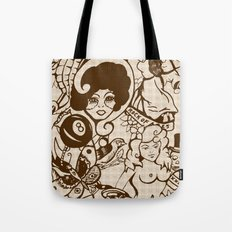 American Traditional Tattoo Collage (Brown) Tote Bag