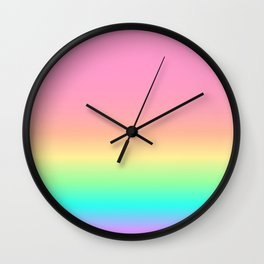 Pastel Rainbow 4 Wall Clock