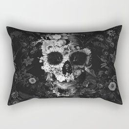 Garden Skull Dark B&W Rectangular Pillow