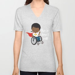This is How I Roll Brown Hair African American Boy in a Wheelchair clipart Unisex V-Neck
