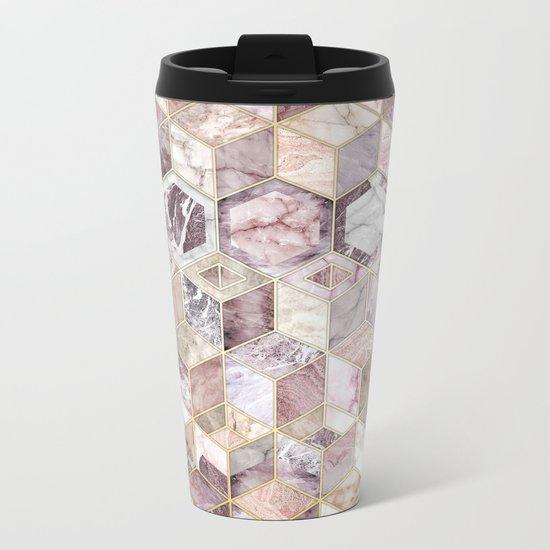 Blush Quartz Honeycomb Metal Travel Mug