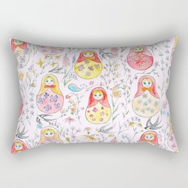 Russian dolls and flowers_ink and watercolor 3 Rectangular Pillow