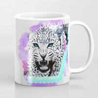 fierce Mugs featuring Fierce Leopard by Kangarui by Rui Stalph