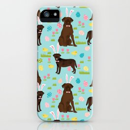 Chocolate Lab labrador retriever dog breed pet art easter pattern costume spring iPhone Case