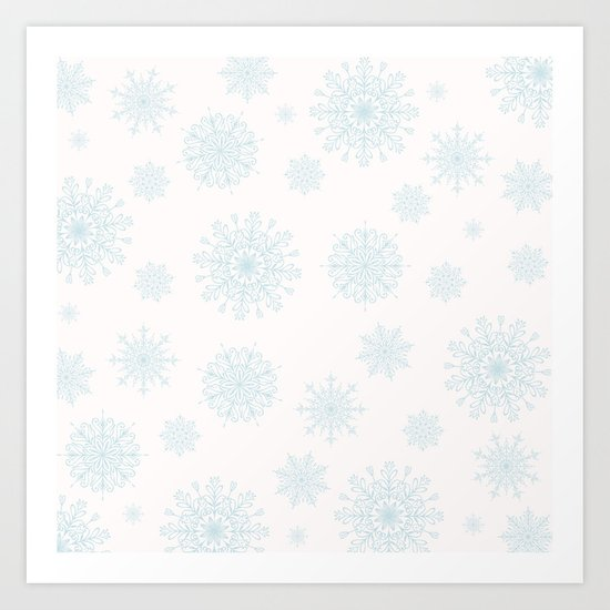 Assorted Light Blue Snowflakes On White Background Art Print