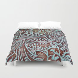 Light Blue & Brown Tooled Leather Duvet Cover