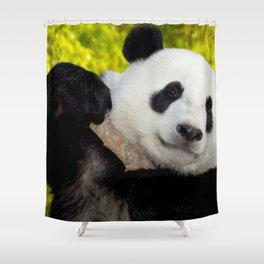 happy panda in his habitat Shower Curtain