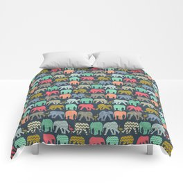 baby elephants and flamingos Comforters