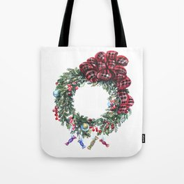 Christmas wreath of happiness Tote Bag
