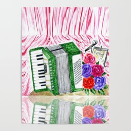 Accordion with roses Poster