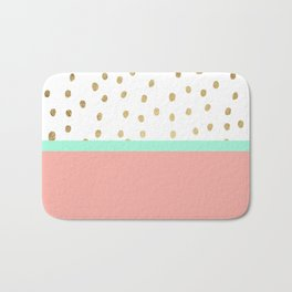 Coral teal color block faux gold foil polka dots pattern Bath Mat