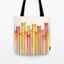 Cats Autumn Colors Pattern Whimsical Cat Orange Red Yellow Animals Tote Bag