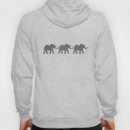 Three Elephants - Teal and White Chevron on Grey Hoody