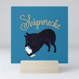Shipwrecke (Blue and Beige) Mini Art Print