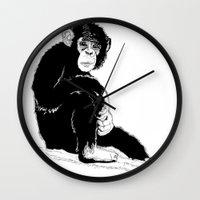 monkey Wall Clocks featuring Monkey by takmaj