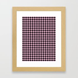 Black and Cotton Candy Pink Diamonds Framed Art Print
