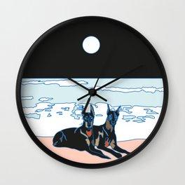 Perros mojados Wall Clock