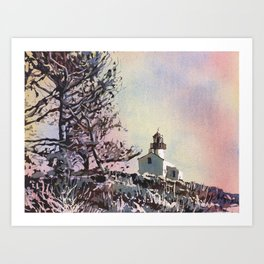Old Point Loma Lighthouse in Cabrillo National Monument.  Watercolor painting of lighthouse. Art Print