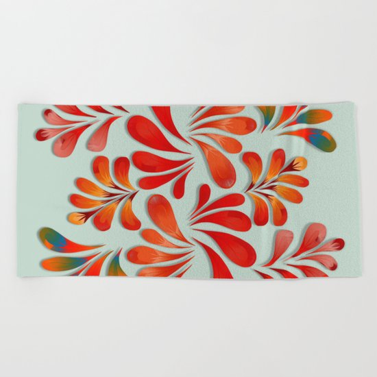 Floral Dance in Red Beach Towel