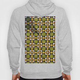 Geometric Tiles Repeat Pattern Yellow And Green Hoody